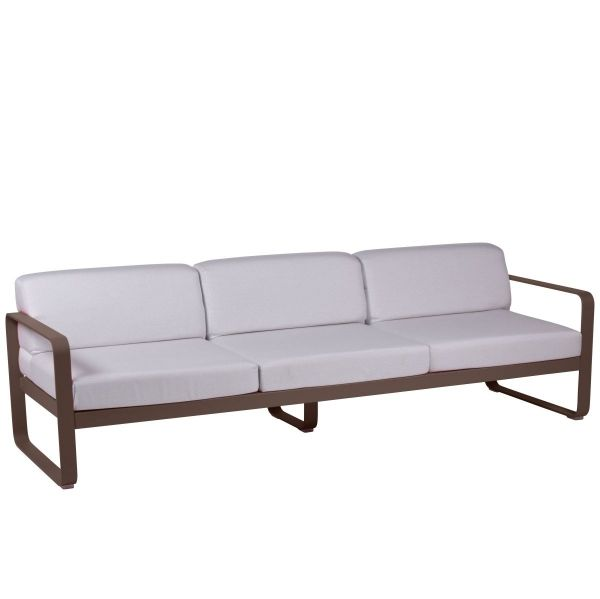 Fermob Bellevie 3 Seat Sofa - Off White Cushions in Russet