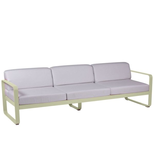 Fermob Bellevie 3 Seat Sofa - Off White Cushions in Willow Green
