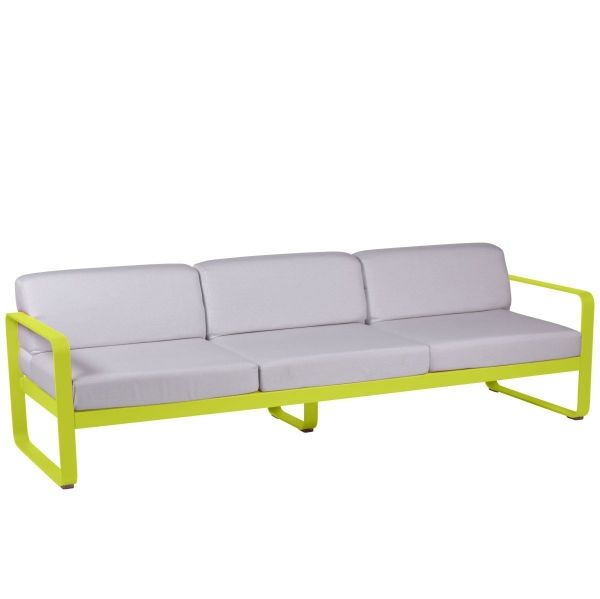 Fermob Bellevie 3 Seat Sofa - Off White Cushions in Verbena