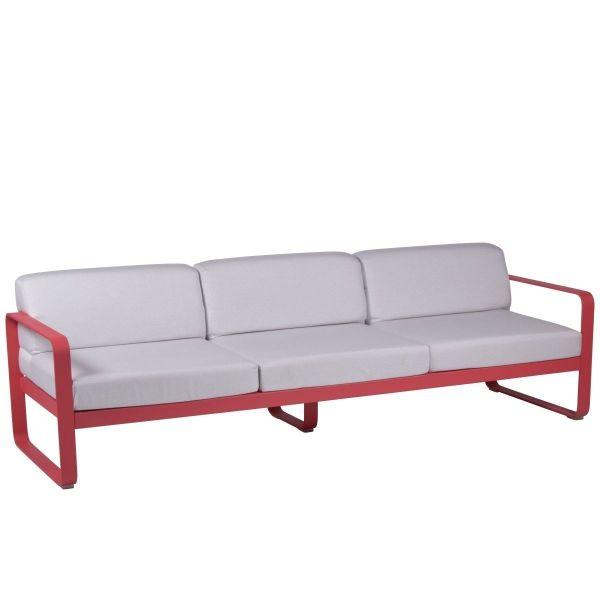 Fermob Bellevie 3 Seat Sofa - Off White Cushions in Pink Praline