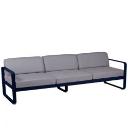 Bellevie Contemporary Outdoor 3 Seat Sofa - Grey Cushions in colour Deep Blue from Bellevie Contemporary Outdoor Furniture