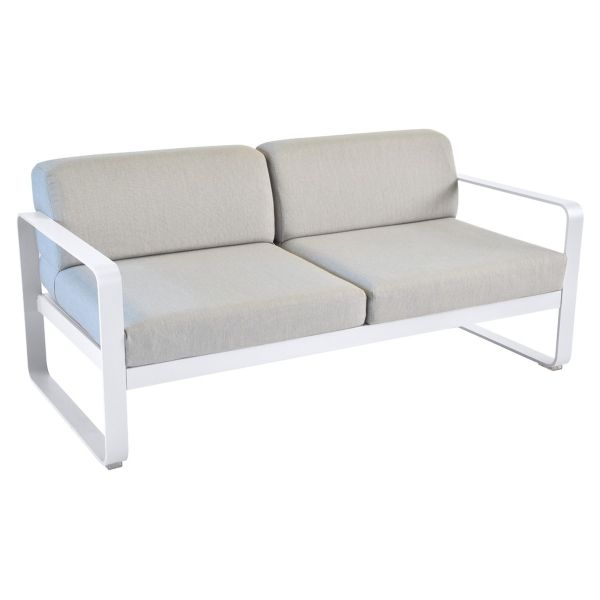 Fermob Bellevie 2 Seat Sofa - Flannel Grey Cushions in Cotton White