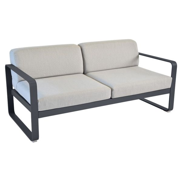 Fermob Bellevie 2 Seat Sofa - Flannel Grey Cushions in Anthracite