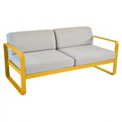 Bellevie Contemporary Outdoor 2 Seat Sofa - Grey Cushions in colour Honey from Bellevie Contemporary Outdoor Furniture
