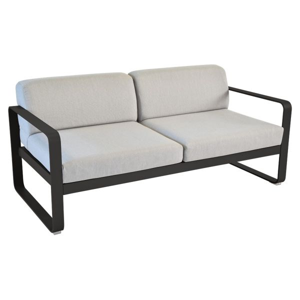 Fermob Bellevie 2 Seat Sofa - Flannel Grey Cushions in Liquorice