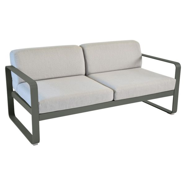 Fermob Bellevie 2 Seat Sofa - Flannel Grey Cushions in Rosemary