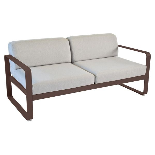 Fermob Bellevie 2 Seat Sofa - Flannel Grey Cushions in Russet