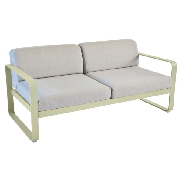 Fermob Bellevie 2 Seat Sofa - Flannel Grey Cushions in Willow Green