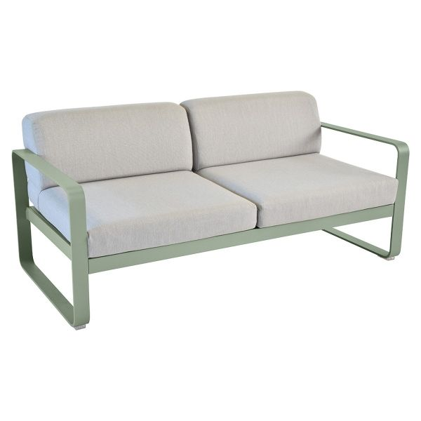 Fermob Bellevie 2 Seat Sofa - Flannel Grey Cushions in Cactus