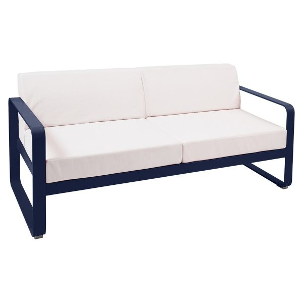 Fermob Bellevie 2 Seat Sofa - Off White Cushions in Deep Blue