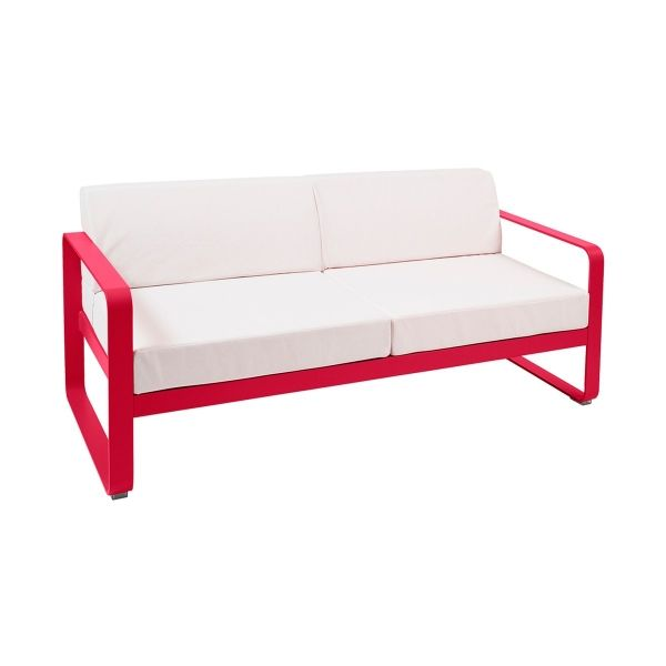 Fermob Bellevie 2 Seat Sofa - Off White Cushions in Pink Praline