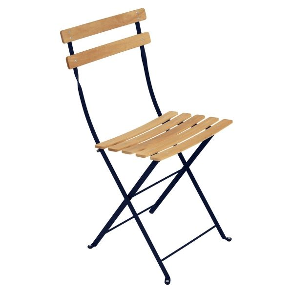 Fermob Bistro Folding Chair - Natural Slats in Deep Blue