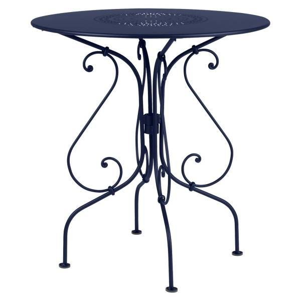 Fermob 1900 Table Round 67cm in Deep Blue