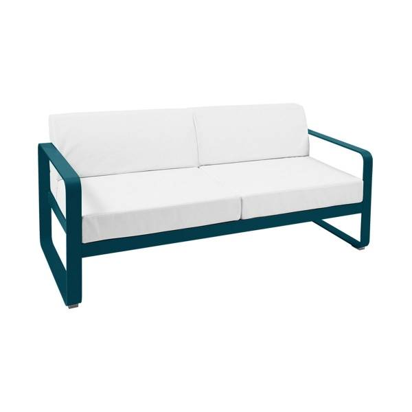 Fermob Bellevie 2 Seat Sofa - Off White Cushions in Acapulco Blue