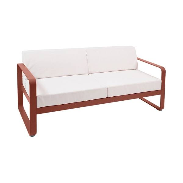 Fermob Bellevie 2 Seat Sofa - Off White Cushions in Red Ochre
