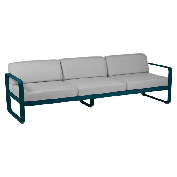 Fermob Bellevie 3 Seat Sofa - Off White Cushions in Acapulco Blue
