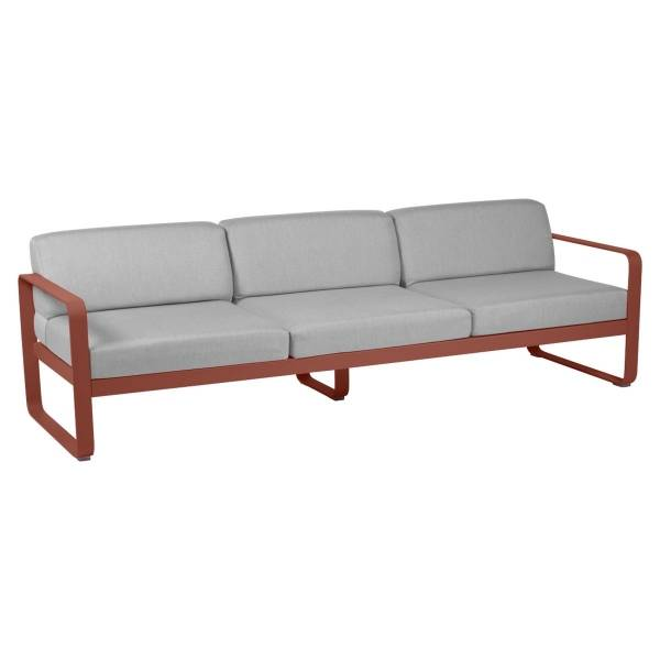 Fermob Bellevie 3 Seat Sofa - Off White Cushions in Red Ochre