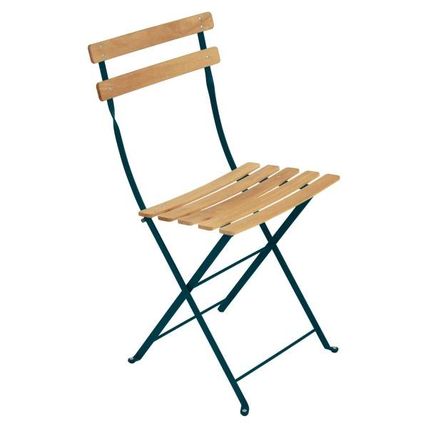 Fermob Bistro Folding Chair - Natural Slats in Acapulco Blue
