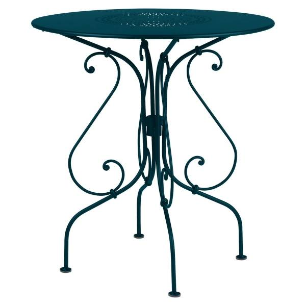 Fermob 1900 Table Round 67cm in Acapulco Blue
