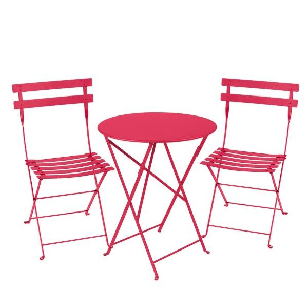 Fermob Bistro Set - 60cm Table and 2 Chairs in Pink Praline