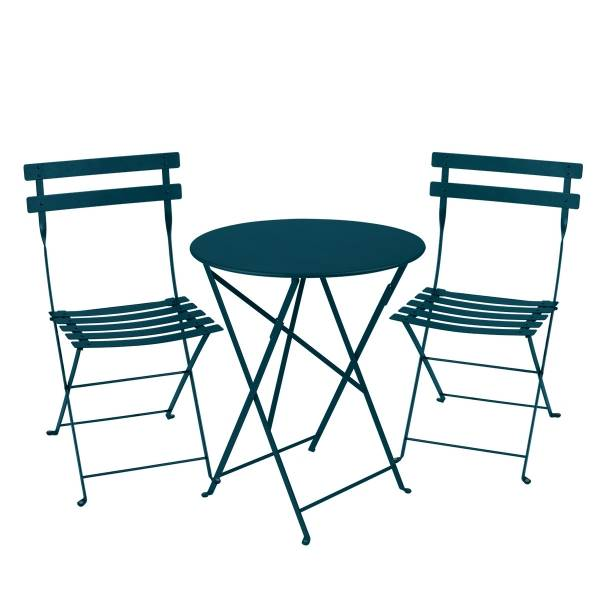 Fermob Bistro Set - 60cm Table and 2 Chairs in Acapulco Blue