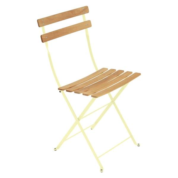Fermob Bistro Folding Chair - Natural Slats in Frosted Lemon