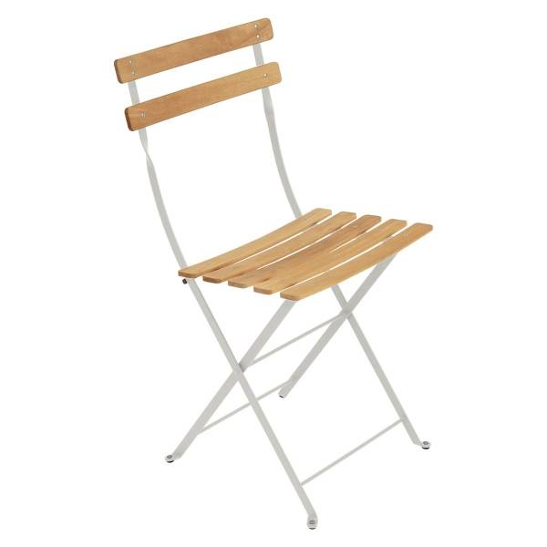 Fermob Bistro Folding Chair - Natural Slats in Clay Grey