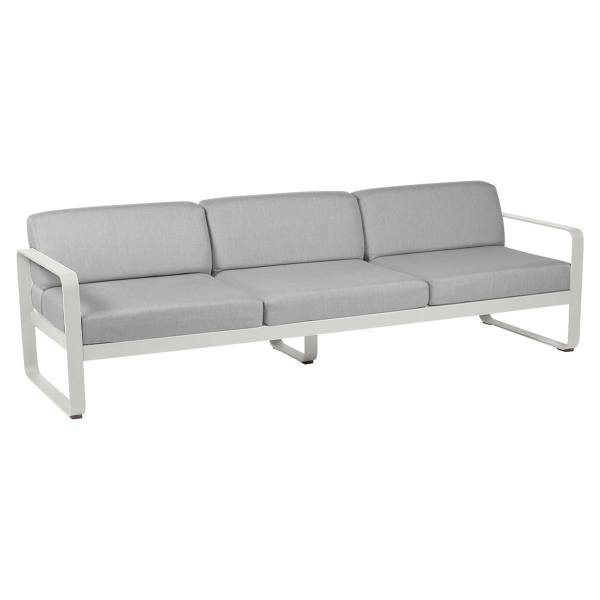Fermob Bellevie 3 Seat Sofa - Off White Cushions in Clay Grey