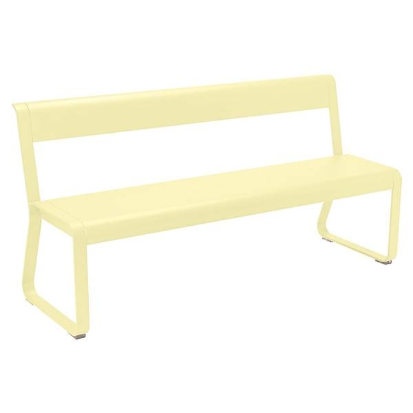Fermob Bellevie Bench with Back in Frosted Lemon