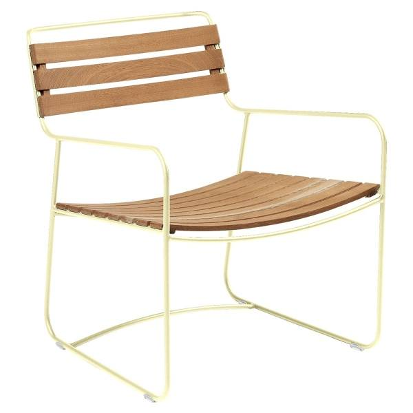 Fermob Low Armchair- Teak in Frosted Lemon