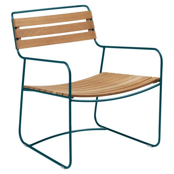 Fermob Low Armchair- Teak in Acapulco Blue