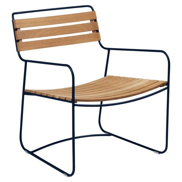 Fermob Low Armchair- Teak in Deep Blue