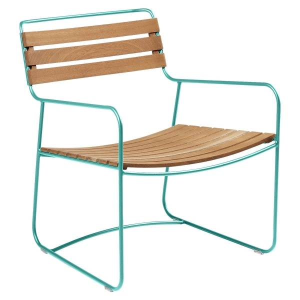 Fermob Low Armchair- Teak in Lagoon Blue
