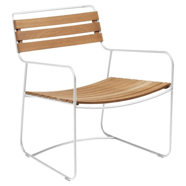 Fermob Low Armchair- Teak in Cotton White
