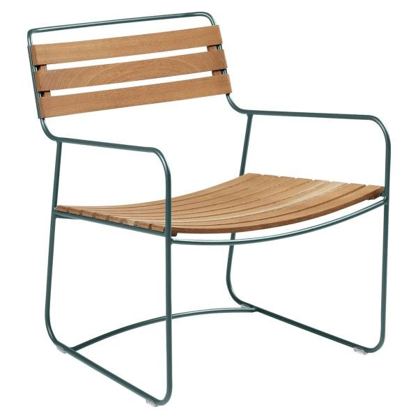 Fermob Low Armchair- Teak in Storm Grey
