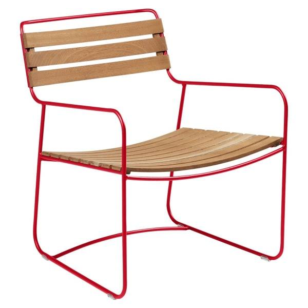 Fermob Low Armchair- Teak in Poppy