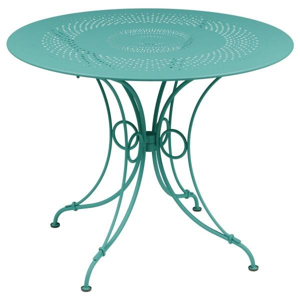 Fermob 1900 Table Round 96cm in Lagoon Blue