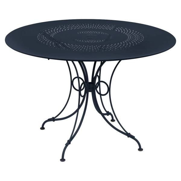 Fermob 1900 Table Round 117cm in Deep Blue