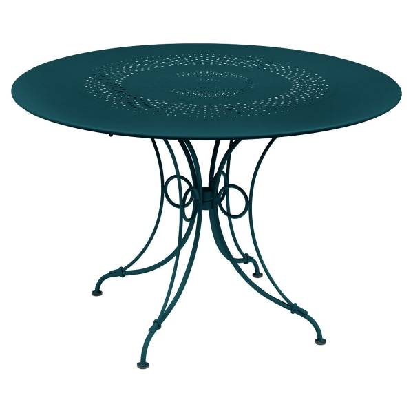 Fermob 1900 Table Round 117cm in Acapulco Blue