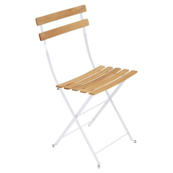 Fermob Bistro Folding Chair - Natural Slats in Cotton White