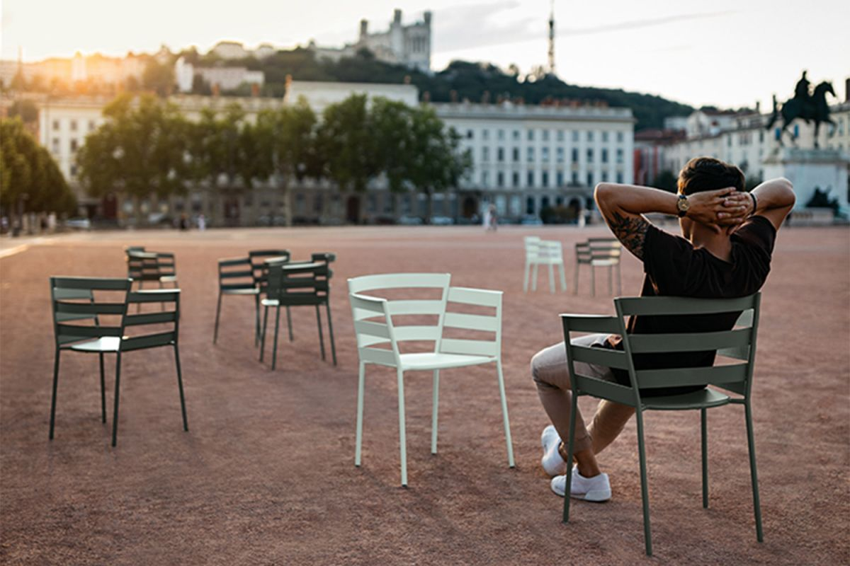 Fermob Rythmic Metal Armchair at Place Bellecour in Lyon