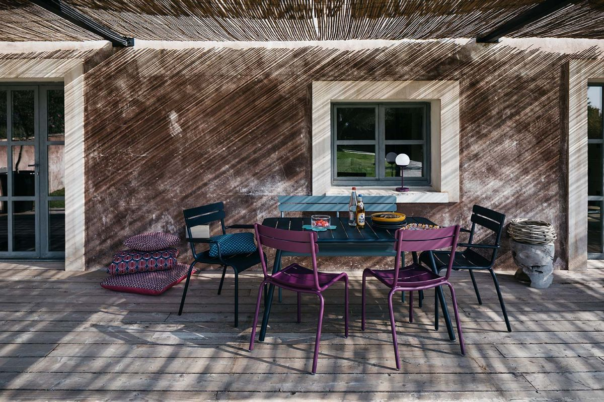 Fermob Luxembourg aluminium outdoor dining setting in Deep Blue, Aubergine and Storm Grey