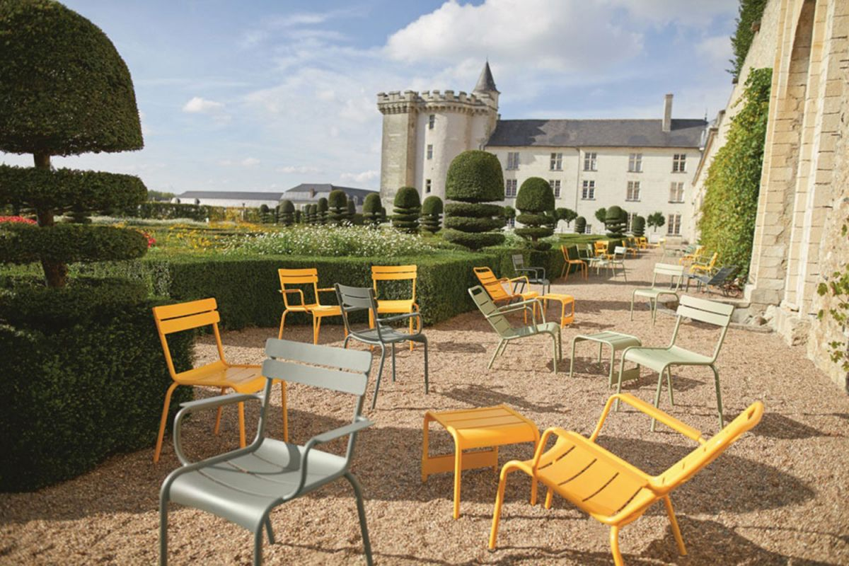 Luxembourg aluminium outdoor chairs at Villandry chateau and gardens in France
