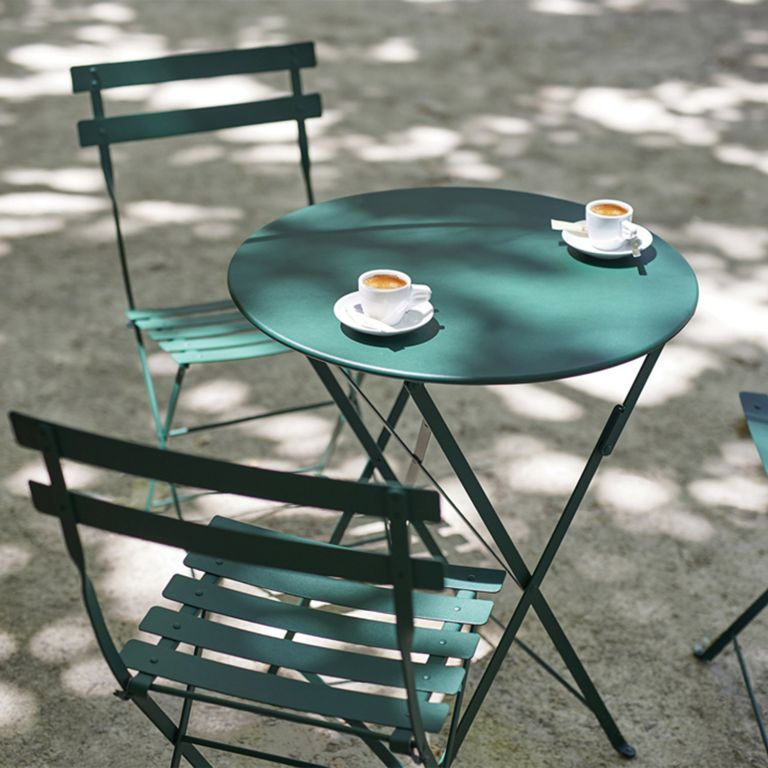 Fermob Bistro Set in Cedar Green with espresso cups